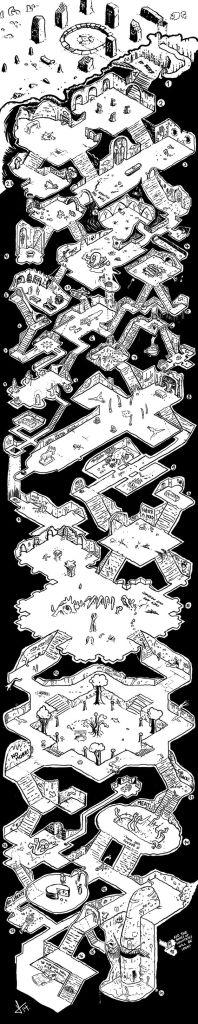 Mapa ilustrado de un dungeon